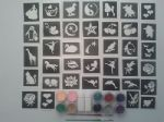 100 girls tattoos stencil glitter set including 10 glitter colours + glue